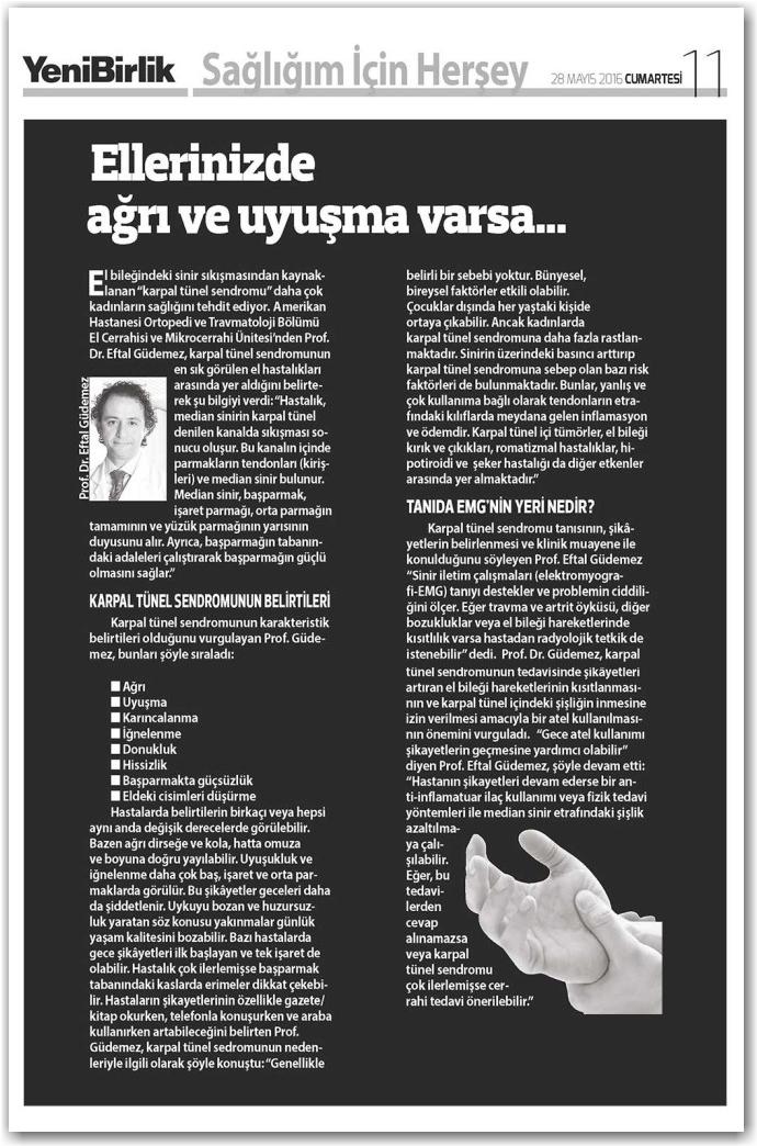 Yeni birlik gazetesi el cerrahisi makale
